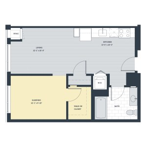 One Bedroom OC1 Floor Plan