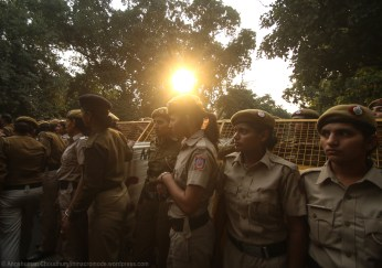 The deployment of a large contingent of police force not only serves the immediate purpose of direct intimidation, but also vilifies the agitators in the eyes of the media and masses. Through systematic police action, the State often tries to portray demonstrators as a 'law-and-order problem'.