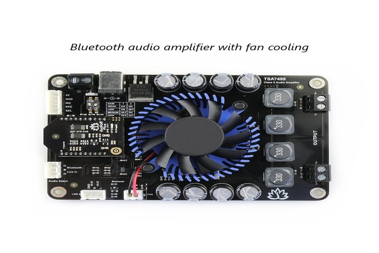 Bluetooth audio amplifier circuit with cooling fan