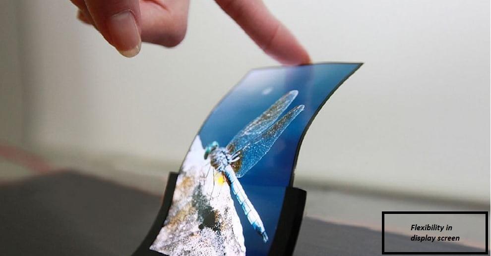Flexibility of an OLED screen