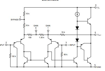 LM386 Audio Amplifier internal diagram