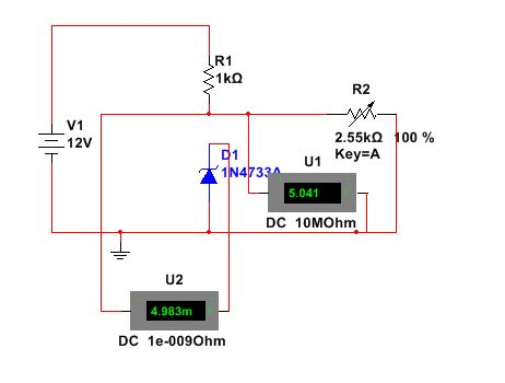 Zener Diode as a Voltage regulator-Resitance 100%