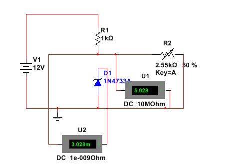 Zener Diode as a Voltage regulator-Resitance 50%