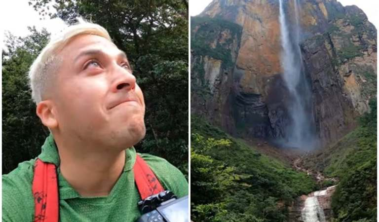 El youtuber mexicano Alex Tienda rompe en lágrimas al llegar al Salto Angel