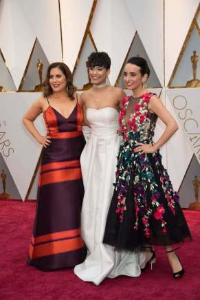 Oscar® nominees, Kahane Cooperman and Raphaela Neihausen, and Brianna Perez arrive on the red carpet of The 89th Oscars® at the Dolby® Theatre in Hollywood, CA on Sunday, February 26, 2017.
