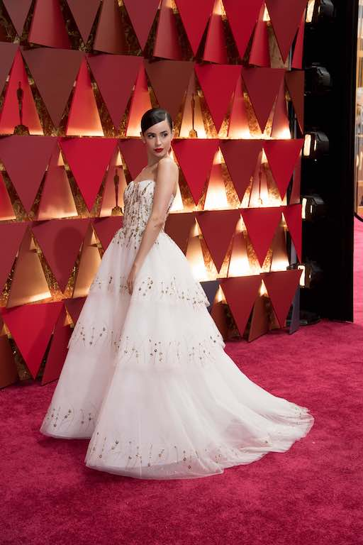 Sofia Carson, Oscar® nominee, arrives on the red carpet of The 89th Oscars® at the Dolby® Theatre in Hollywood, CA on Sunday, February 26, 2017.