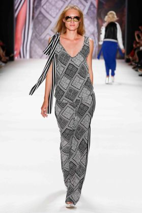 BERLIN, GERMANY - JUNE 28: A model walks the runway at the Riani show during the Mercedes-Benz Fashion Week Berlin Spring/Summer 2017 at Erika Hess Eisstadion on June 28, 2016 in Berlin, Germany. (Photo by Frazer Harrison/Getty Images for Riani)