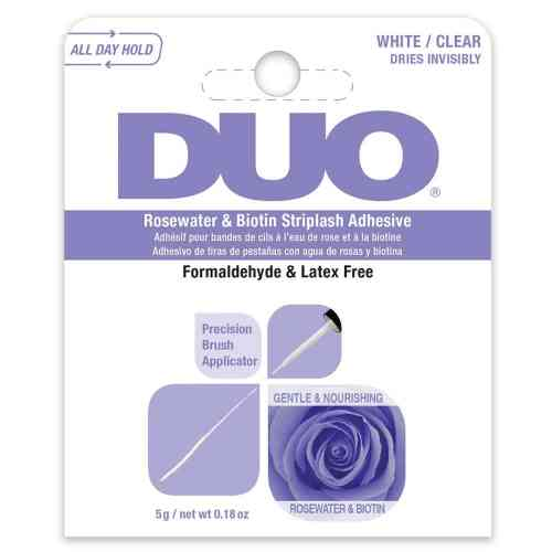 DUO, Rosewater & Biotin Striplash Adhesive, White/Clear