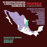 Violencia e irregularidades en 10 de 12 estados con asambleas de MORENA