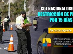 COE Nacional dispone restricción de placas por 15 días