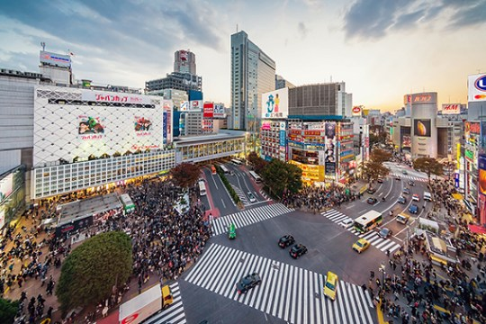 Aerial View Crowded Tokyo Shibuya Crossing Japan