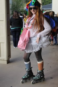 One student catches attention while wearing a tutu and rollerblades