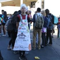 This student adorns a thai chef apron.