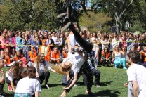 Junior Casey Braga goes for a flip in the dance battle.