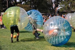 The juniors dominate in bubble soccer.