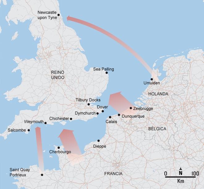 Mapa de las principales rutas de migrantes en el Canal de la Mancha. Fuente: Elaboración propia