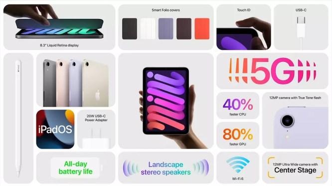 Resumen de las características del iPad Mini de 6ª generación.   Fuente: Apple