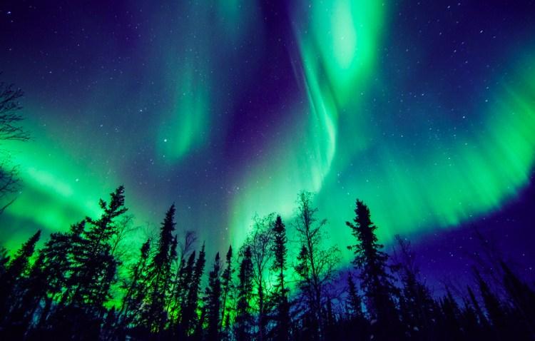 otoño, aurora boreal, fenómenos atmosféricos