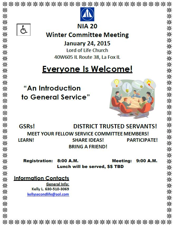 NIA 20 - Winter Committee Meeting 2015 - General Service Workshop! 1