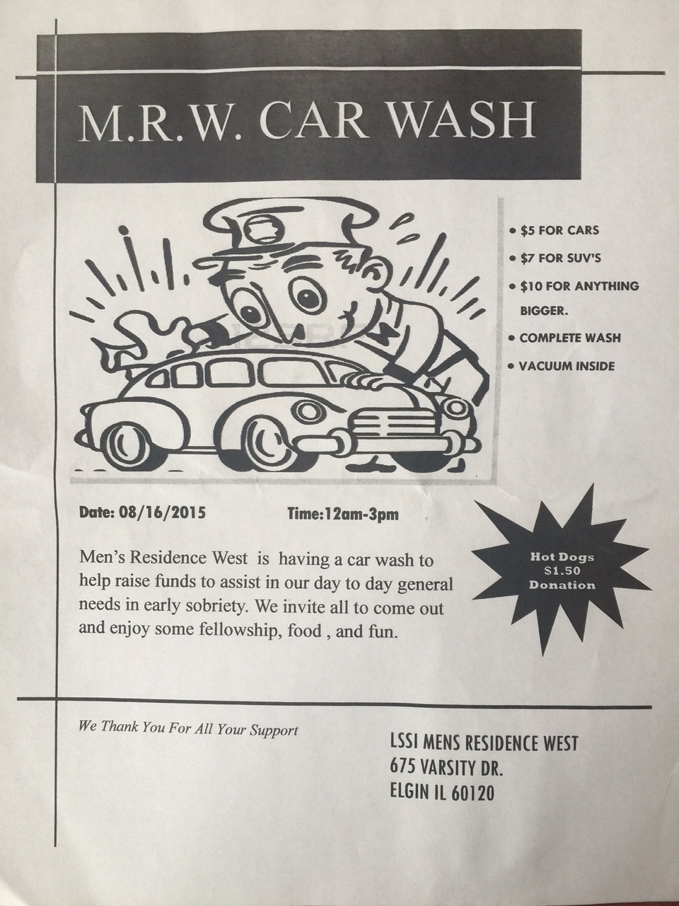 M.R.W. Car Wash - August 16th 1