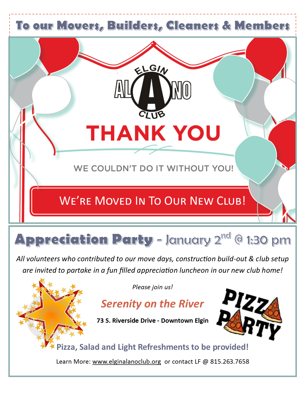 Service Workers Club Appreciation Lunch! 1