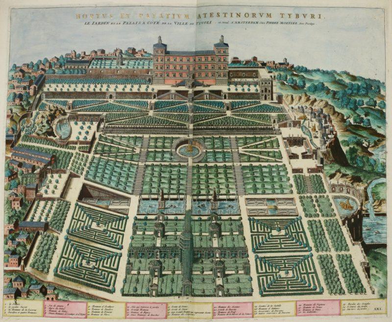 Grabado de Villa d'Este, obra de Étienne Dupérac