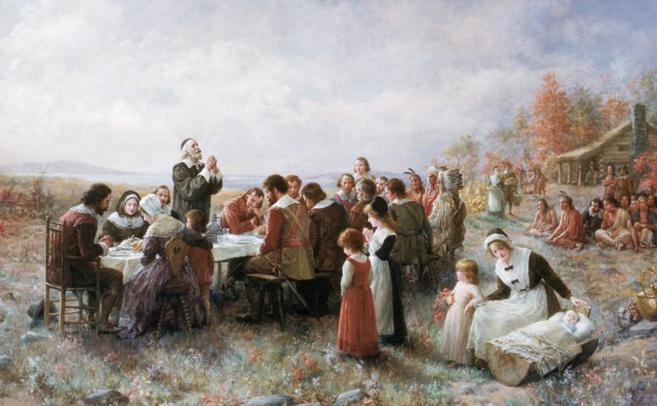 The First Thanksgiving by Jennie Augusta Brownscombe