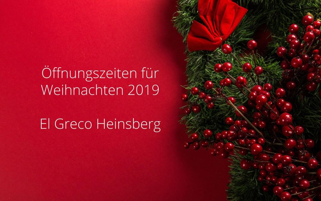 Öffnungszeiten für Weihnachten 2019