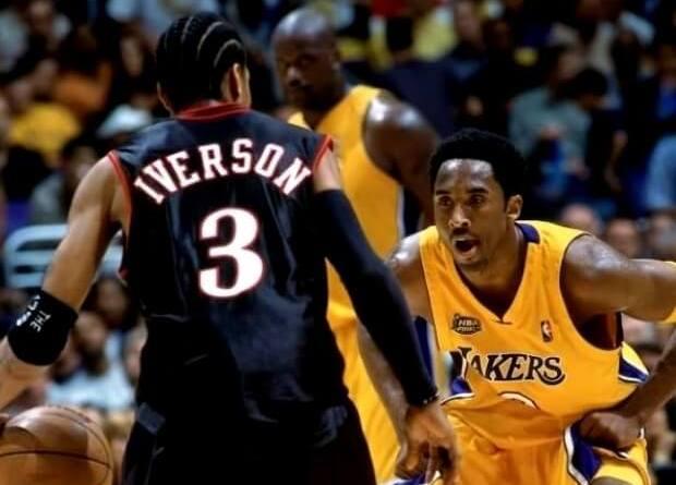 Iverson defendido por Kobe Bryant