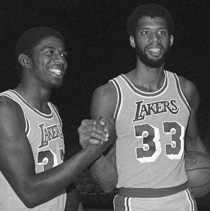 Magic y Kareem en su primer año juntos en la NBA
