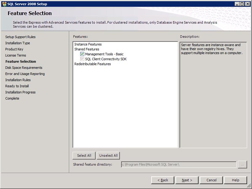 How to Install SQL Server 2008 Management Studio Express for TFS basic (6/6)