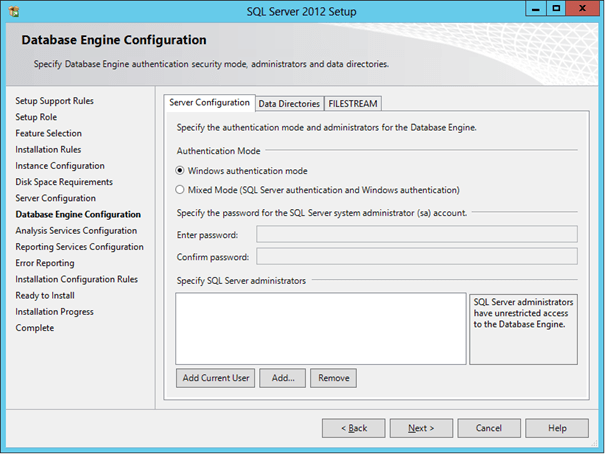 Add the local administrators group to SQL Server administrators (1/6)