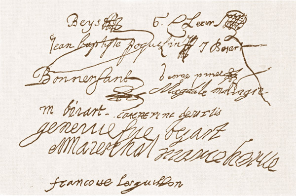 Signatures des comédiens de l'Illustre-Theatre