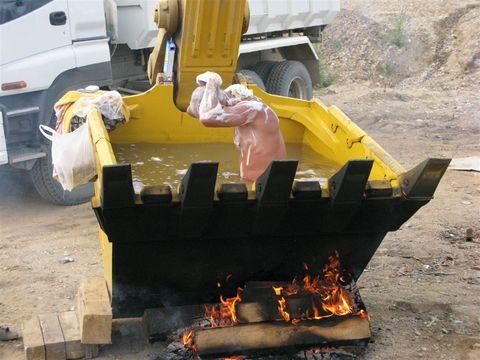 Baño caliente en la obra