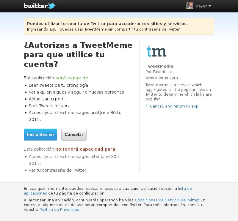 Twitter. Autorizar una aplicación. 2011-06-17