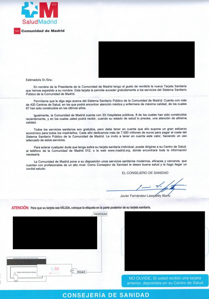 Carta que acompaña a la tarjeta sanitaria de la Comunidad de Madrid