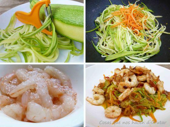Espaguetis vegetales con gambas al ajillo