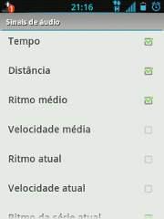 RunKeeper Configurar sinais de áudio
