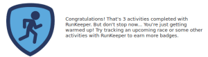Medalha do Foursquare para RunKeeper warmup-badge