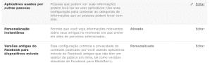 Facebook aplicativos usados por outras pessoas - privacidade