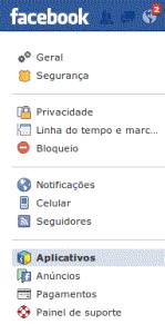 Facebook Menu de configurações