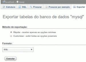 phpmyadmin exportar banco de dados do servidor atual - backup