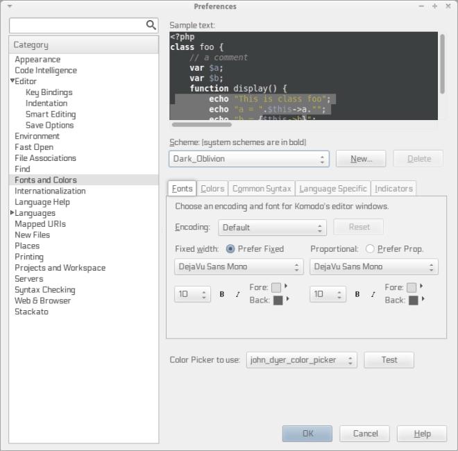 Editor PHP Komodo configuração de ambiente de edição