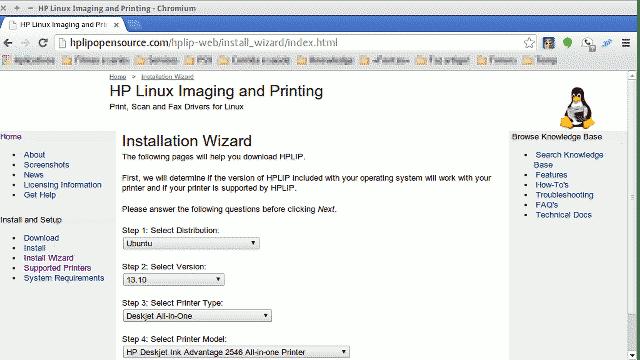baixar e instalar drivers de impressora do linux