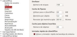 LibreOffice - painel de configurações de uso da memória