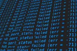 Saída do comando dmesg com erro na porta USB