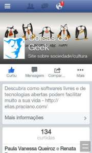 Captura de tela facebook no smartphone - uc browser