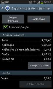 Captura da tela do gerenciador de aplicações Android