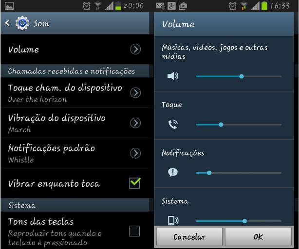Menu de configuração de áudio no Android