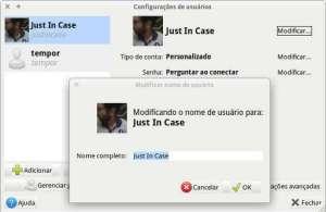 Caixa de diálogo para alterar nome de exibição do usuário no XFCE - Xubuntu